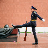 Post honor guard at the Eternal Flame in Moscow at Stock Photo