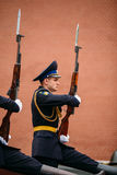 Post honor guard at the Eternal Flame in Moscow, Russia Royalty Free Stock Photography