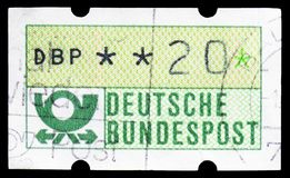 Post horn, DBP bold, ATM Labels serie, circa 1992 stock images