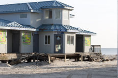 Post Hurricane Sandy. Boardwalk destroyed at Seaside Heights, NJ after Hurricane Sandy Royalty Free Stock Photography