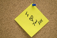 Post it I ♥ YOU Stock Image