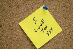 Post it I LOVE YOU Royalty Free Stock Photo