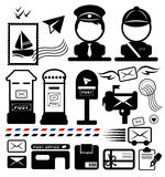 Post icon set. Royalty Free Stock Photography