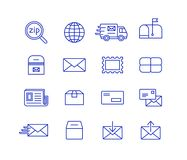 Post icons. Mail and postal service icon set. Fast delivery transporting documents and small packages. Post and mail icons Stock Images