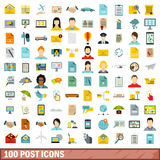 100 post icons set, flat style. 100 post icons set in flat style for any design vector illustration Royalty Free Stock Photos