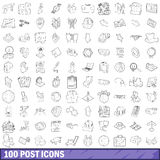 100 post icons set, outline style Stock Photo