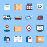 Post Icons Set. With plane train and truck transportation symbols on blue background flat isolated vector illustration Stock Photography