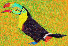 Post impressionist style colored toucan bird Stock Photo
