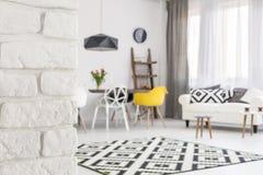Post industrial elements in contemporary interior decor stock photos