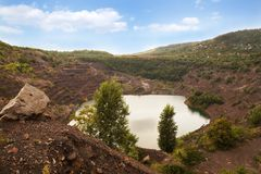 Post-industrial landscape. Inactive open-cast mine of hard coal royalty free stock images