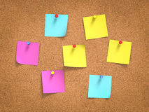Post-its colorés à bord Photo stock