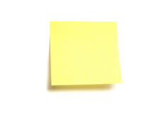 Post-it jaune d'isolement Image stock