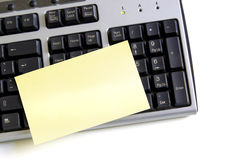 Post-it on Keyboard Stock Image