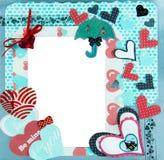 Post-it kleurrijk kader met hartenclose-up Stock Afbeelding