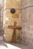 Post 9 Kruis van Jesus Christ binnen via Dolorosa, Oud Jeruzalem Stock Foto
