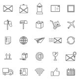 Post line icons on white background Stock Photography