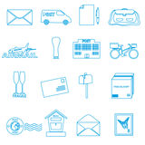 Post and mail blue outline icons set Stock Photo