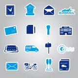 Post and mail blue stickers set Stock Photos