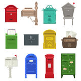 Post mail box vector set. Beautiful rural curbside open and closed mailboxes with semaphore flag vector illustration. Traditional communication empty postage Royalty Free Stock Photo
