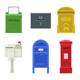 Post mail box vector set. Beautiful rural curbside open and closed mailboxes with semaphore flag vector illustration. Traditional communication empty postage Royalty Free Stock Images