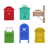 Post mail box vector set. Beautiful rural curbside open and closed mailboxes with semaphore flag vector illustration. Traditional communication empty postage Stock Photos