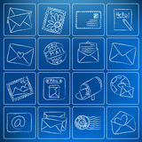 Post and mail chalky icons Royalty Free Stock Photography