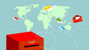 Post, mail communication. Post mailbox, paper planes flying, sending loving messages to the world. Vector communication illustration stock illustration
