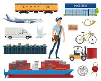 Post mail delivery and postman vector flat icons. For postage services. Isolated symbols of post office, stamp, shipping cargo transport of ship or airplane and Royalty Free Stock Image