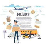 Post mail delivery and postman vector poster. Post mail delivery and postage service poster of post shipping icons. Vector postman or mailman delivering parcels Stock Photography