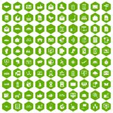 100 post and mail icons hexagon green. 100 post and mail icons set in green hexagon isolated vector illustration Stock Photography