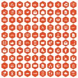 100 post and mail icons hexagon orange. 100 post and mail icons set in orange hexagon isolated vector illustration Stock Images