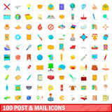 100 post and mail icons set, cartoon style. 100 post and mail icons set in cartoon style for any design vector illustration royalty free illustration