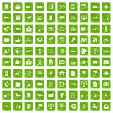 100 post and mail icons set grunge green. 100 post and mail icons set in grunge style green color isolated on white background vector illustration Royalty Free Stock Photos