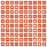 100 post and mail icons set grunge orange. 100 post and mail icons set in grunge style orange color isolated on white background vector illustration Royalty Free Stock Image