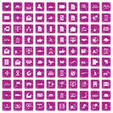 100 post and mail icons set grunge pink. 100 post and mail icons set in grunge style pink color isolated on white background vector illustration vector illustration