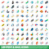 100 post and mail icons set, isometric 3d style Royalty Free Stock Images