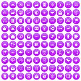 100 post and mail icons set purple. 100 post and mail icons set in purple circle isolated on white vector illustration Stock Photos