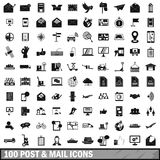 100 post and mail icons set in simple style Stock Images