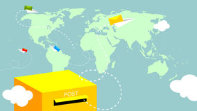 Post, mail. Post mailbox, letters flying over world map vector illustration