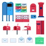 Post mailbox vector flat illustration. Letters and postboxes isolated icons.  stock illustration