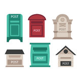 Post mailbox vector illustration. Beautiful rural mailboxes vector illustration. Traditional communication empty postage post mail box. Letter message post mail Royalty Free Stock Photography