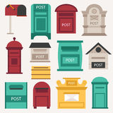 Post mailbox vector set. Beautiful rural curbside open and closed mailboxes with semaphore flag vector illustration. Traditional communication empty postage Royalty Free Stock Image