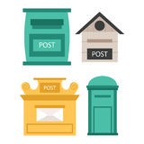 Post mailbox vector set. Beautiful rural curbside open and closed mailboxes with semaphore flag vector illustration. Traditional communication empty postage Stock Photo