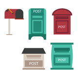 Post mailbox vector set. Beautiful rural curbside open and closed mailboxes with semaphore flag vector illustration. Traditional communication empty postage Stock Photos