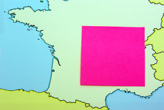 Post it on map Royalty Free Stock Images