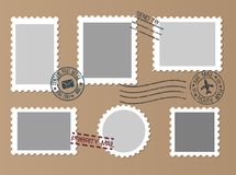 Post marks set on craft paper Background. Set of Blank Postage S. Tamps. Vector illustration Royalty Free Stock Image