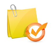 Post memo check mark cycle illustration Stock Images