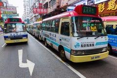 Post met openbare lichte bussen in Hong Kong royalty-vrije stock fotografie