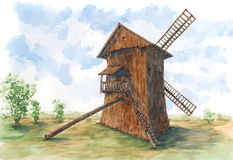 Post mill earliest type of European windmill. Ink and watercolor on rough paper Royalty Free Stock Images