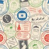 Post- modell för jul Santa Claus poststämpelkapsel, stämpel för kort för porto för vinterferie och nordpolenpoststämplar stock illustrationer